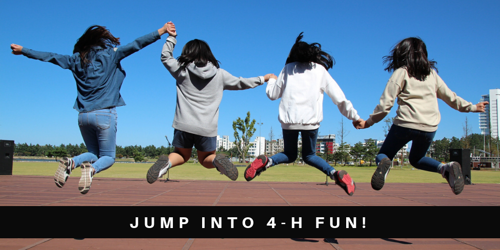 Four Girls Jumping on a Track Court. Jump Into 4-H Fun!