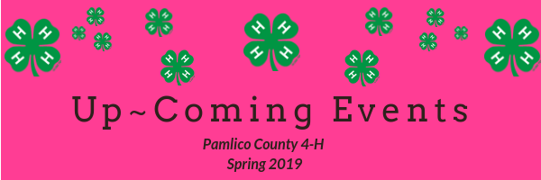 Pink Banner with 4-H Clovers Scattered across the top. Reading: Up~ Coming Events, Pamlico County 4-H Spring 2019