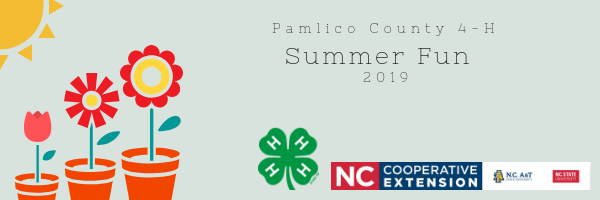 Pamlico County 4-H Summer Fun 2019: This banner depicts three graphic flowers in pots, with a graphic sun overhead. The 4-H Clover, and N.C. Cooperative Extension Logo are on the bottom right.