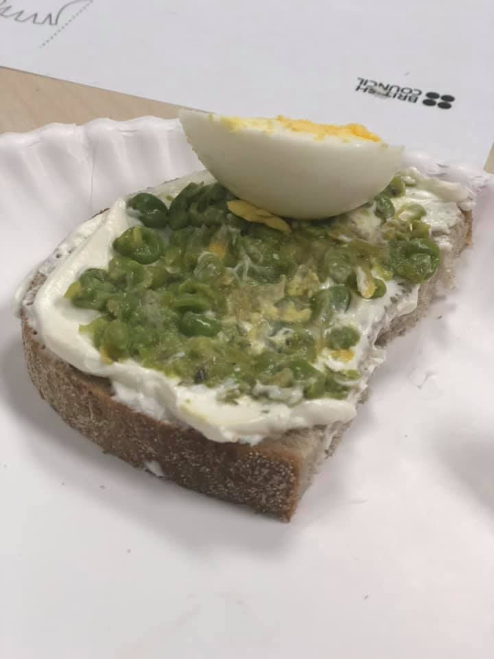 Polish Open Faced Sandwich: with creme fresh, peas, and hard boiled egg