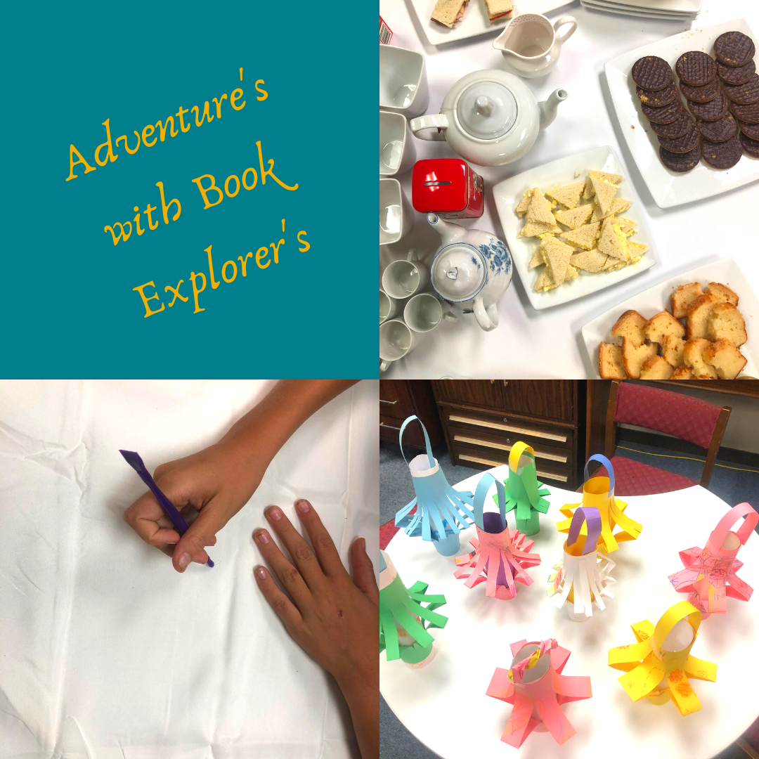 Book Explorer's Collage: Child painting fabric for adire dying; Chinese Paper Lanterns; Afternoon Tea