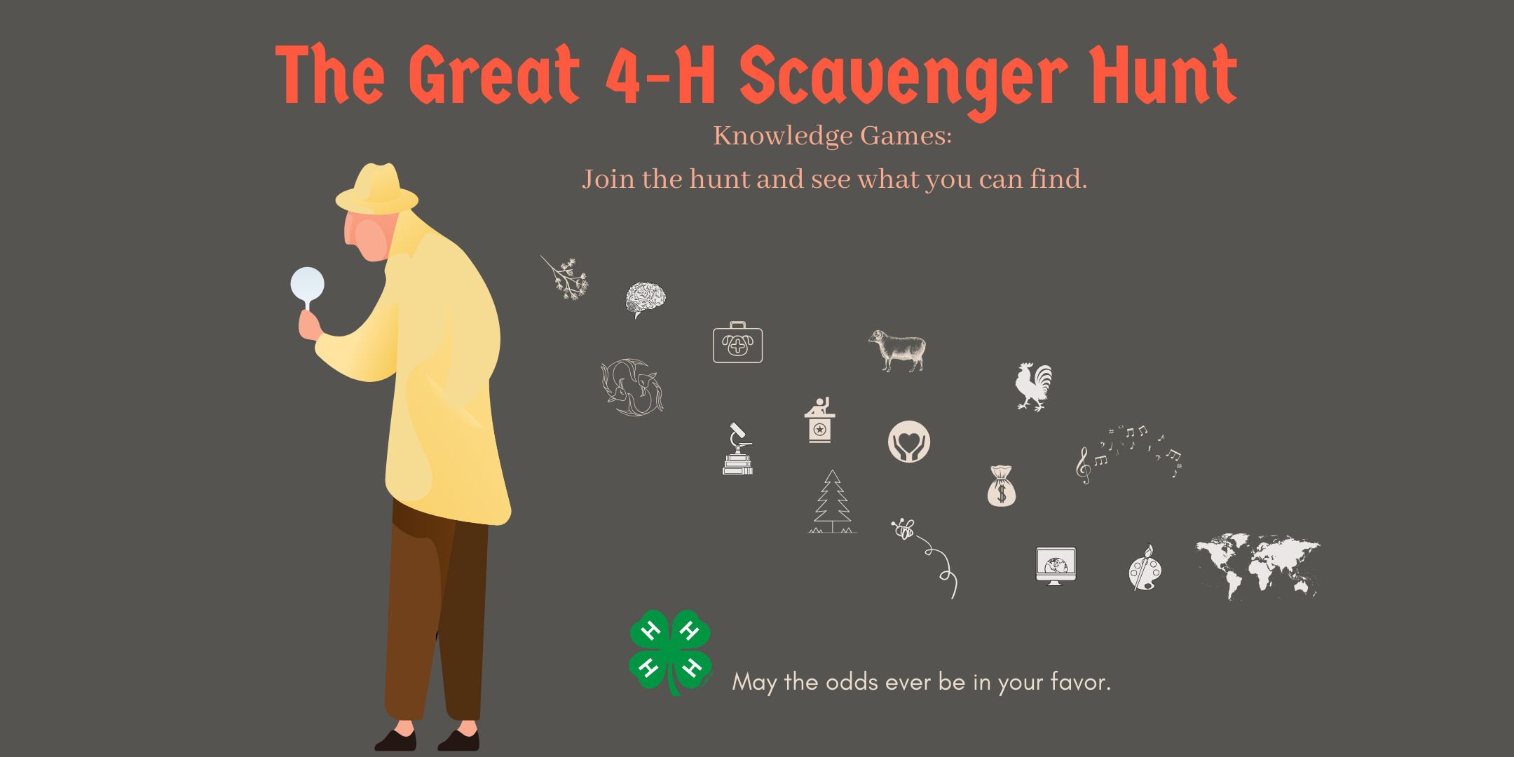 The Great 4-H Scavenger Hunt, Knowledge Games: Join the Hunt and See what you can find, A detective in a yellow hat and coat walks away while images of the scavenger hunt float behine