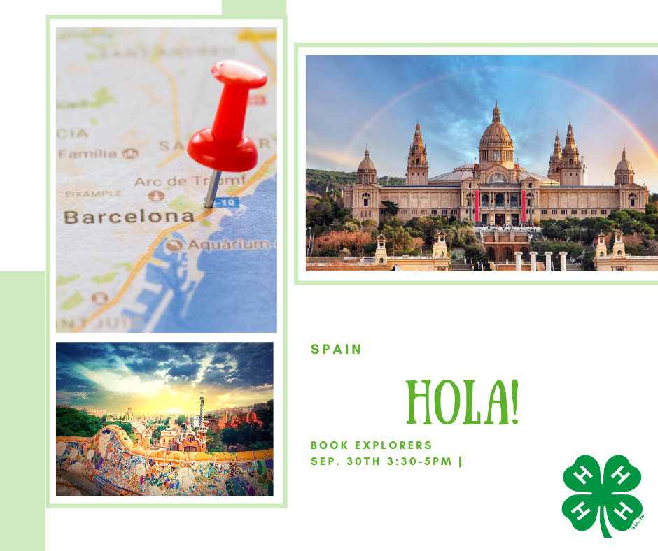 A map of Spain, a picture of the Goudi Park, and The Cathedral in Barcelona