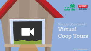 Chicken coop with video icon and text Raldolph County 4-H Virtual Coop Tours